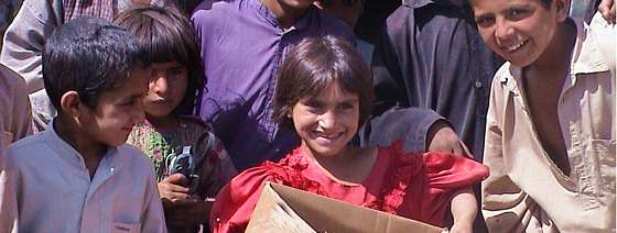 Afghan Kids With Food Carton